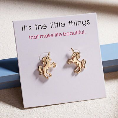 Fashion Women's Girl Earrings Cute Gold Horse Ear Stud With Card Jewelry Gifts