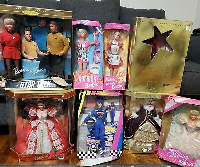 Lot Of 8 New Boxed Barbies New Mattel 3 Holiday, 1995 Happy Birthday Barbie, etc