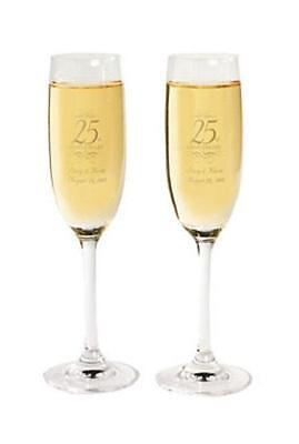 Personalized Wine Glass 25th Anniversary Silver-Year Champagne Flutes Set of 2