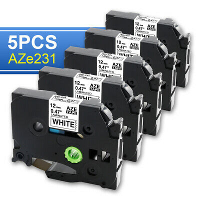 5 PK 12mm Label Tape compatible for Brother TZ TZe-231 Black on White P-Touch.