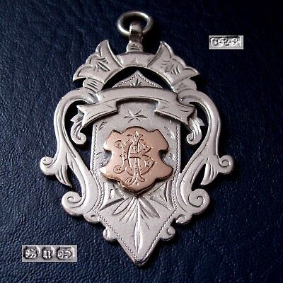 1887 large antique Victorian solid silver fob medal for a pocket watch chain 22g