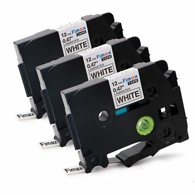 3 pcs 12mm Label Tape compatible for Brother TZ TZe-231 Black on White P-Touch