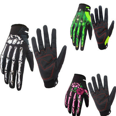 Mens Cycling Motorcycle Skull Bone Skeleton Goth Full Finger Warm Gloves M-XL BK