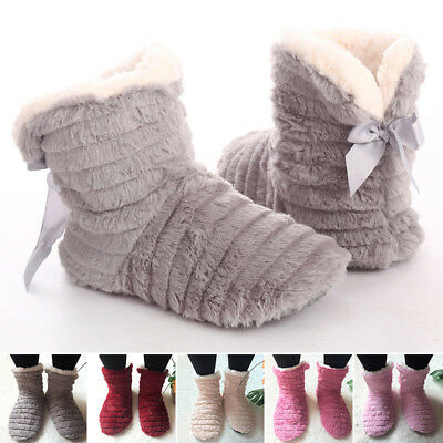 Women's Warm House Slipper Booties Soft Fleece Indoor Home Floor Shoes Non-Slip