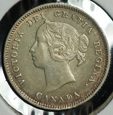 1890 H Canada 5 C Five Cents Coin