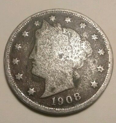 1908, Liberty V-Nickel 5 Cent U.S Coin, Rare Date! *Free Shipping*!!! Lot D64