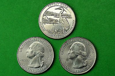 2015-P D S  BU Mint State(Bombay Hook Wildlife Refuge) US Park Quarters(3 Coins)