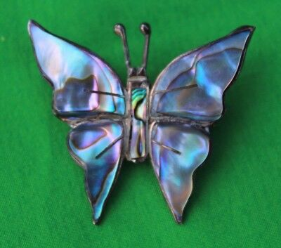 Vintage Sterling Silver 925 Mexico Abalone Shell Butterfly Pin Brooch Vtg