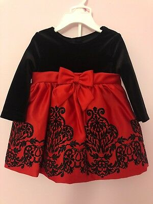 Rare Editions Baby Girls' Red/Black Flocked Glitter Christmas Dress - 6/9