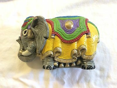 Vintage Circus Elephant Piggy Bank Multi-Color Decorative Pre-Owned *Nice!*