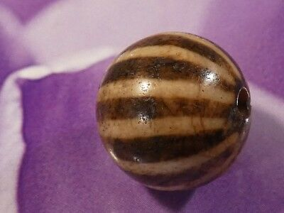 ANCIENT PUMTEK PYU 12 STRIPE ROUND BEAD 15.7 MM GREAT FANTASTIC WEAR pumtekman