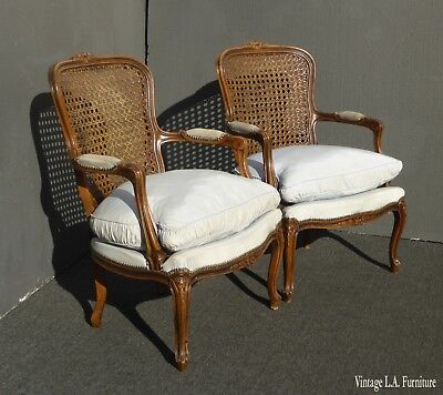 Pair of Vintage French Provincial Blue Cane & Down Bergere Chairs Made in Italy