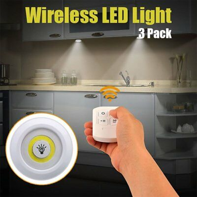 3pcs Remote Control LED Security WallNight Light Cordless Battery Powered Lamp