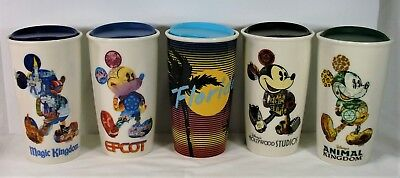 Disney Magic & Animal Kingdom Epcot & Hollywood Studios Starbucks 5 Tumblers SET