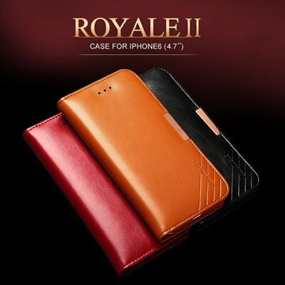 KLD Royale II Genuine Calf Leather Flip Wallet Case Cover for Apple iPhone 6S 6