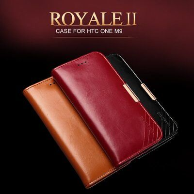 KLD Royale II Genuine Calf Leather Flip Wallet Case Cover for HTC One M9 M9S