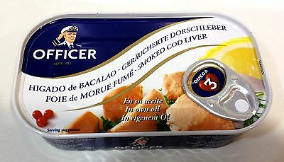 BORNHOLMS Officer Smoked Cod Liver 120g from Denmark, HIGADO de BACALAO