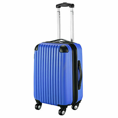 """GLOBALWAY 20"""" Navy ABS Carry On Luggage Travel Bag Trolley Suitcase Expandable"""