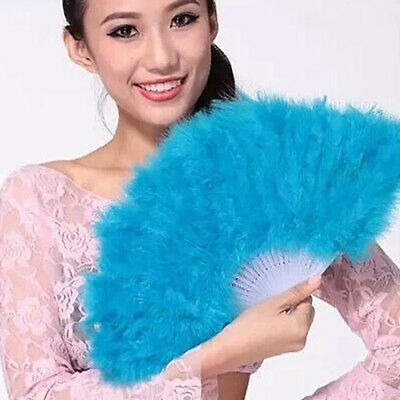 Colourful Fashion Feather Fan Folding Hand Costume Wedding Showgirl Dance Party