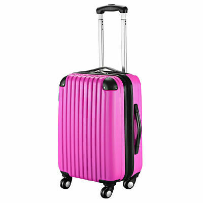 """GLOBALWAY 20"""" Pink ABS Carry On Luggage Travel Bag Trolley Suitcase Expandable"""