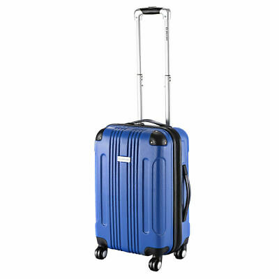 "GLOBALWAY Blue Expandable 20"" ABS Carry On Luggage Travel Bag Trolley Suitcase"