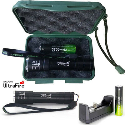 UK Tactical 20000LM Army T6 LED Flashlight Zoomable Torch+18650+Charger+Case Set