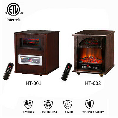 KOOLWOOM Quartz Infrared Electric Space Heater Fireplace Portable Room Two Type