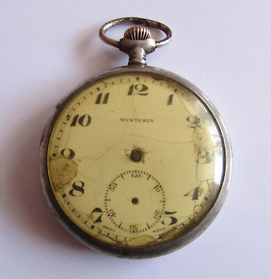 Very Rare Old Antique Swiss Pocket watch - MYSTERIA/NOT WORKS