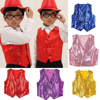 Girls Boys Sequined Vest Waistcoat Hip-Hop Dance Party Street Show Costume Funny
