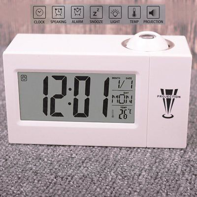 Digital Wecker mit Projektion LED Display Dimmbar Uhr Sleep Snooze Alarm Wecker