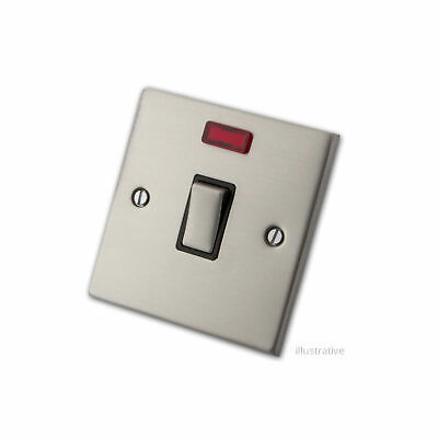 20A Stainless Steel Double Pole Switch With Neon Indicator