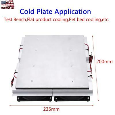 Thermoelectric Peltier Refrigeration Cooling System Kit Cooler Double Fan US