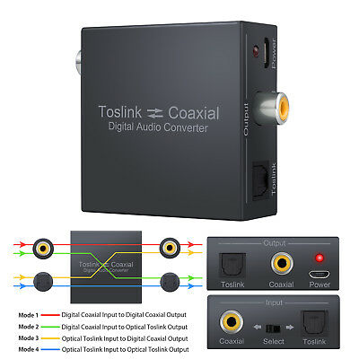 Digital Coaxial to Optical Toslink SPDIF Audio Converter Bi-Directional Swtich
