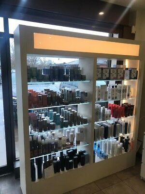 Salon - Retail Display shelving unit with glass shelves and lights
