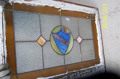 Antique Vintage Stained Glass Window Amber Border