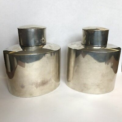 Antique Matched Pair Solid Silver Tea Caddy's / Canisters 1904/6 Charles Horner