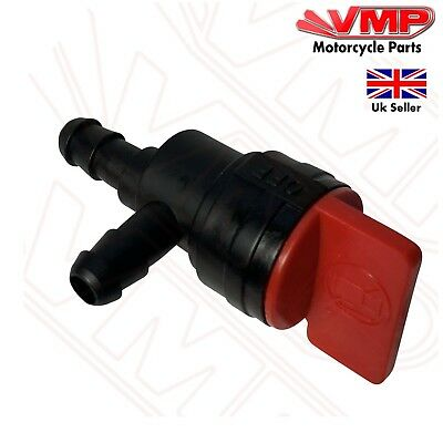 "Universal 6mm Motorbike 1/4"" ID Inline Petrol ON-OFF Gas Fuel Tap Shut Valve 90"