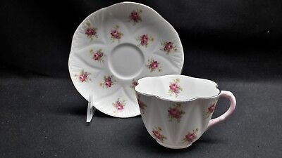 Shelley England Bone China Rose 2334 - Dainty Shape Pink Handle Cup & Saucer