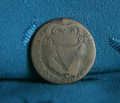 Ireland 1/2 Penny 1694 Copper World Coin Eire RARE Hibernia Irish Harp