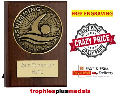 SWIMMING PLAQUE / AWARD 8cm **FREE ENGRAVING** W506A.21
