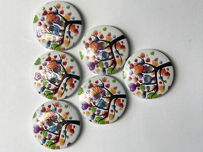 20mm. 6 Summer Leaf Tree Buttons Wooden with Varnish finish