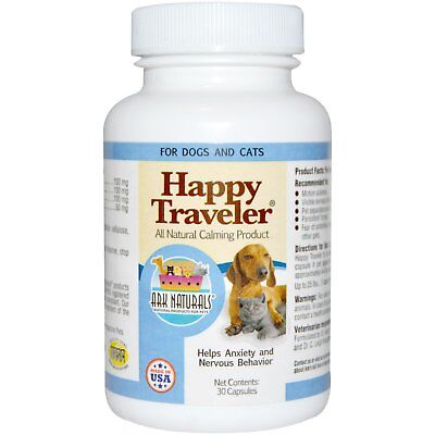 Ark Naturals, Happy Traveler,All Natural Calming Product,For Dogs & Cats,30 Caps