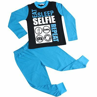 Kids Girls Boys Eat Sleep Selfie Repeat Pajamas Blue Lounge Wear PJS 2-13 Years