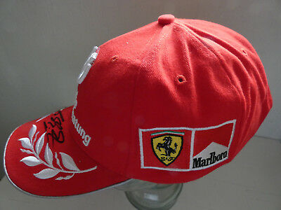 Michael Schumacher Ferrari DVAG WC Fan-Cap 2001 Personal Marlboro origin. signed