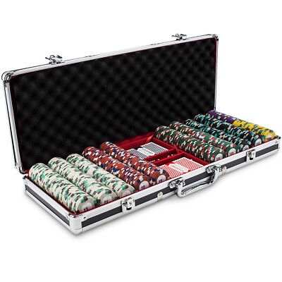 500 Count Claysmith 'Poker Knights' Poker Chips Set in Black Aluminum Case