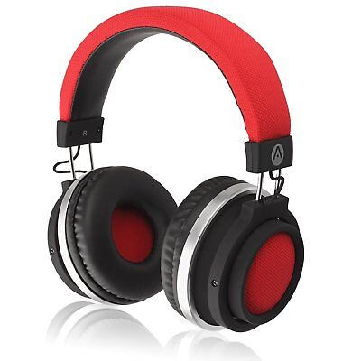 Audiomate BT980 Stereo HD Audio Bluetooth Wireless Over-Ear Headphones|Built-Red