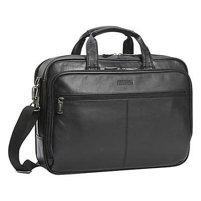 Kenneth Cole Reaction Business and Luggage Leather Zip-Top Portfolio in Black