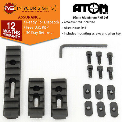 Metal 20mm Picatinny Weaver Rail Section Set for Hand Guard Rifle Tactical Black
