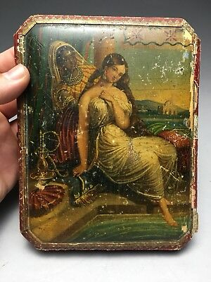 Beautiful German Silver Etui Sewing Kit With Miniature Hand Painted Box