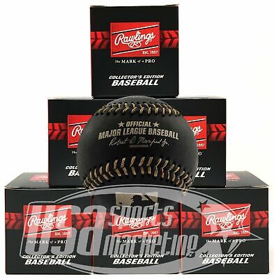 (6) Rawlings Black Official Major League Game Baseball Manfred Boxed - 1/2 Dozen